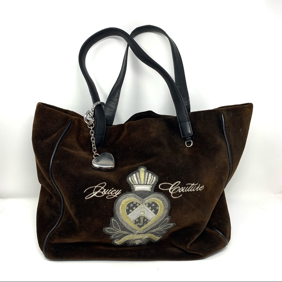 Juicy Couture Brown Velvety Fabric Large Tote Bag
